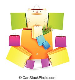 Lord Ganesha Shopping Bag - easy to edit vector illustration...