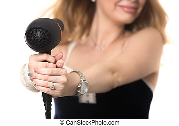 Woman with hairdryer - Young attractive blond woman drying...