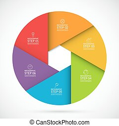 6 steps infographic circle template in material style