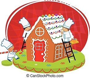 Chefs and Gingerbread house - Cute chefs are decorating a...