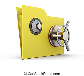 Folder for papers with safe lock isolated on white...