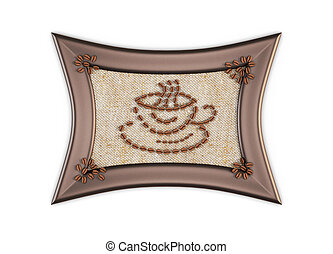 Cup of coffee beans on sackcloth Picture of coffee beans in...