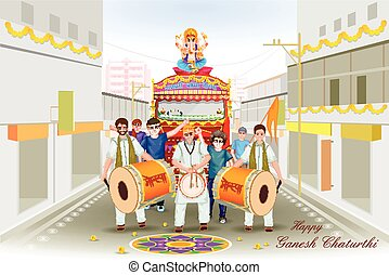Lord Ganesha procession for Ganesh Chaturthi - easy to edit...