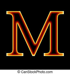 fire font: letter M on a dark background