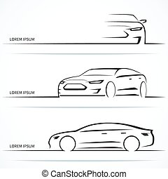 Set of luxury car silhouettes. Vector illustration - Set of...