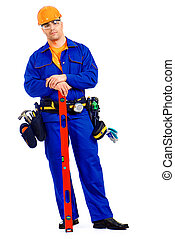 workman - A construction worker working with building level...