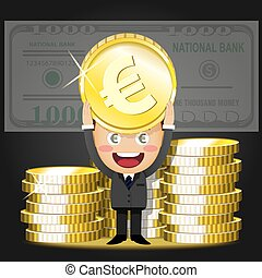 happy man and stack of big golden coins