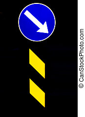 traffic sign - Real picture of a shining directional blue...