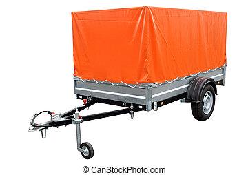 Orange car trailer, isolated on white background