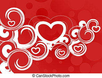 Valentine\'s day card - Abstract floral design in...