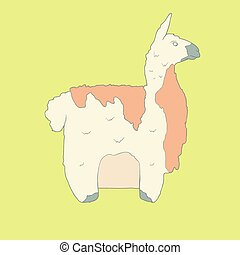 Flat hand drawn icon of a cute lama with orange wool Animal...