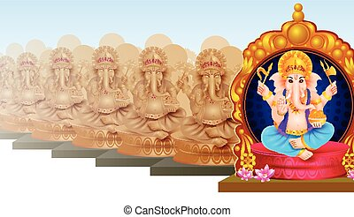 Idol of Lord Ganesha for Happy Ganesh Chaturthi - easy to...