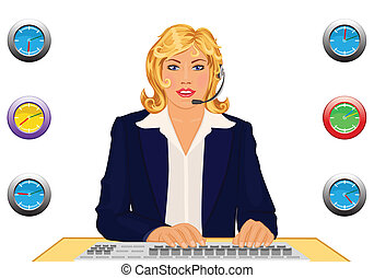 Call us anytime! - vector illustration of a happy customer...