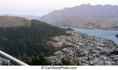 Aerial view of Queenstown, New Zealand - QUEENSTOWN, NZ -...