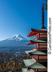 Chureito Peace Pagoda, built on a hilltop facing Mt Fuji