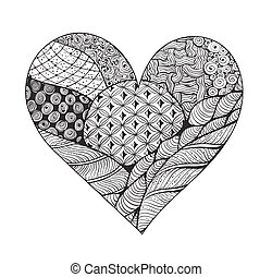 Big black and white zentangle heart with ornament isolated...