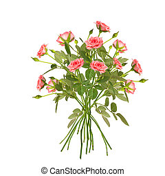 Collage of pink roses on white - Collage of pink long stem...