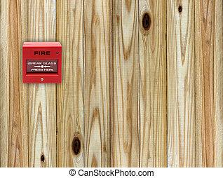 fire break glass on the wood wall