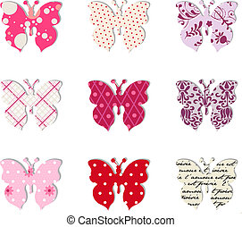 Butterfly set Pink, red and warm tones - Pattern of nine...