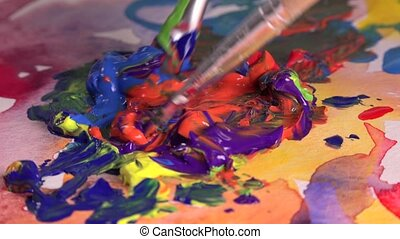mixture of several colors gouache - complex interplay of...