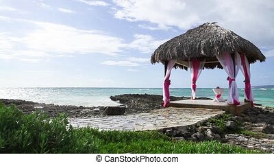 Wedding gazebo on the ocean shore - Wedding gazebo on the...