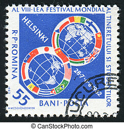 postmark - ROMANIA - CIRCA 1962: 8th Youth Festival for...