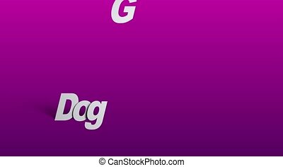 Dog grooming signs on purple background - Sliding text...