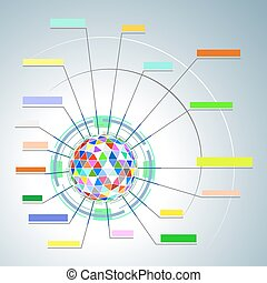 Colorful diagram of a polygonal sphere Vector EPS10