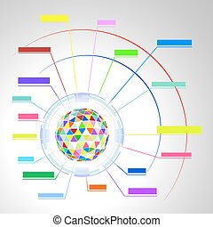 Colorful diagram of a polygonal sph - Abstract colorful...
