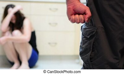 Man and woman domestic violence - Woman in fear of domestic...