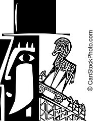 Trojans - Woodcut style image of a Trojan Horse being loaded...