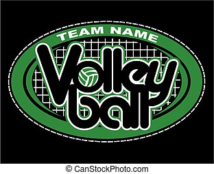 volleyball design - volleyball team design with oval border...