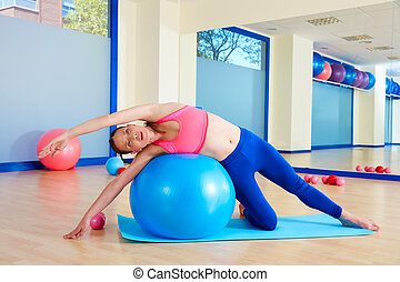 mulher,  fitball,  Pilates, curva, lado, exercício
