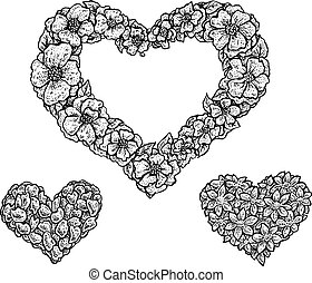 Set of heart shaped floral frames and silhouettes