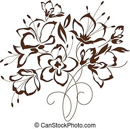 floral design, bouquet of stylized