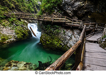 Vintgar gorge, Bled, Slovenia - Wooden path in Vintgar gorge...