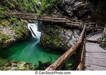 Vintgar gorge, Bled, Slovenia - Wooden path in Vintgar gorge...