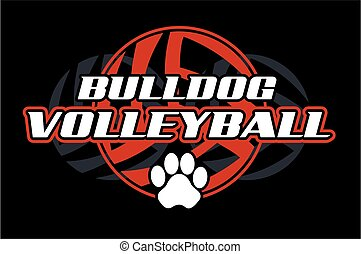 bulldog volleyball design with paw print
