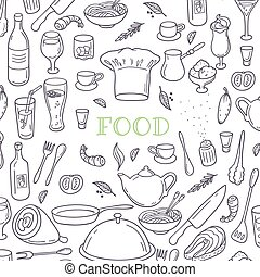 Food and drink outline doodle background. Hand drawn kitchen design elements