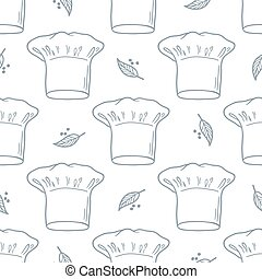 Seamless pattern with hand drawn chef hat. Kitchen background in outline style