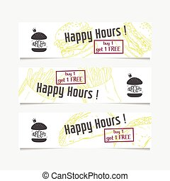 Collection of banners templates with sketched fast food elements