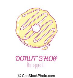 Hand drawn donut isolated. Sweet pastry doodle illustration