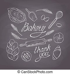 Bakery sketched objects. Hand drawn groceries goods...