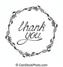 Illustration with THANK YOU hand lettering and floral frame. Template for your design