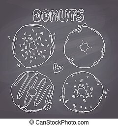 Set of hand drawn donuts isolated in vector. Sweet lettering. Chalkboard background