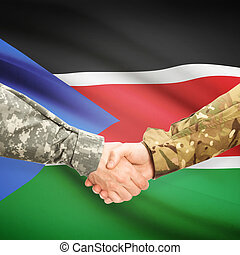 Men in uniform shaking hands with flag on background - South...