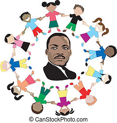 Martin Luther King with kids - Vector Dr. Martin Luther King...