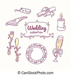 Wedding table decoration in doodle style. Hand drawn celebration clip art. Vector illustration