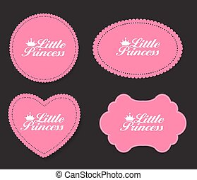 Little Princess Label Set Vector Illustration