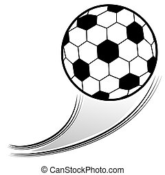 Flying Soccer Ball - An image of a soccer ball in the air.